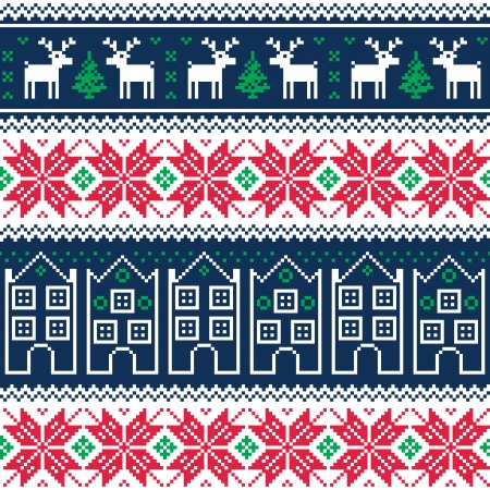 Winter christmas seamless pattern with reindeer Vector