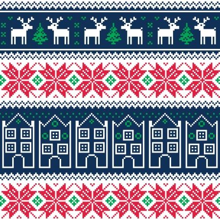 scandynavian: Winter christmas seamless pattern with reindeer