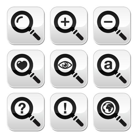 Facial vidrio, botones de búsqueda web conjunto Ilustración de vector