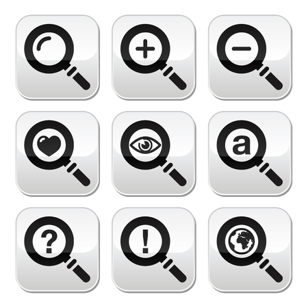 Magnyfying glass, web search buttons set Vector