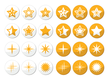 Gold stars round icons set Stock Vector - 23084491