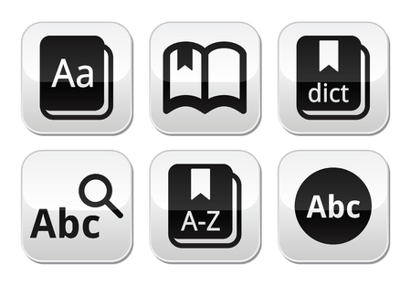 learning language: Dictionary book buttons set