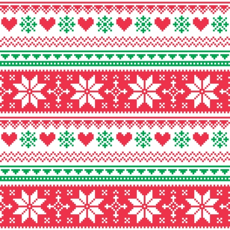scandynavian: Nordic seamless knitted christmas red and green pattern