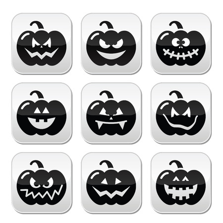 angry vegetable: Halloween pumkin buttons set
