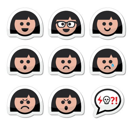 persona triste: Ni�a o mujer caras, iconos avatar establecidos