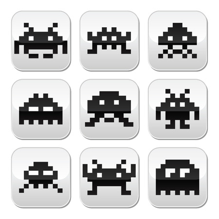 space invaders: Space invaders, 8bit aliens buttons set Illustration