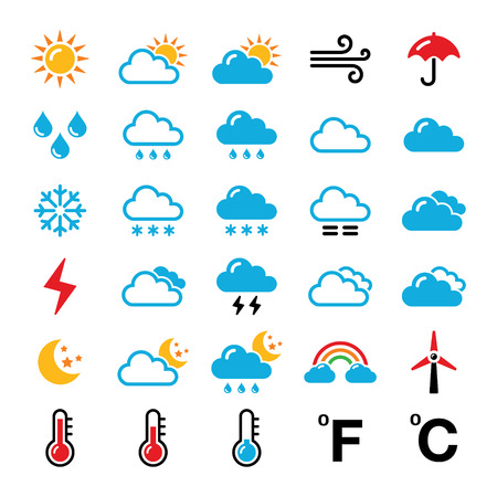 Weather forecast colorful vector icons set Illustration