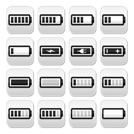 recharge: Battery charge vector buttons set Illustration