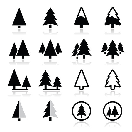 round icons: Pine tree vector icons set  Illustration