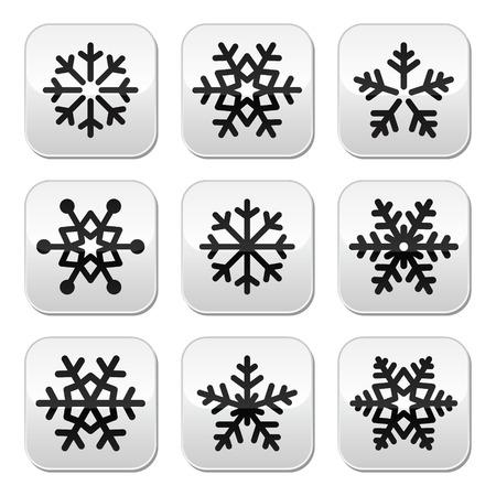 snowflake set: Snowflake winter vector buttons set Illustration