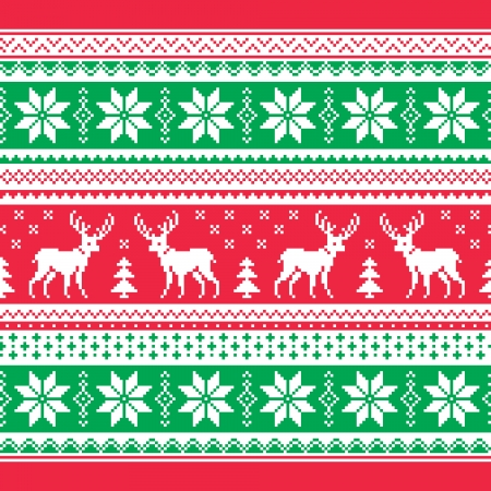 scandynavian: Christmas and Winter knitted pattern, card - scandynavian sweater style Illustration