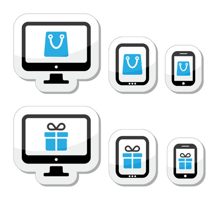 Shopping online, internet shop icons set Stock Vector - 23235623