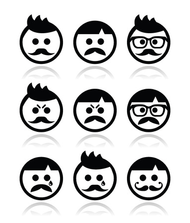 pissed off: Man with moustache or mustache, avatar vector icons set Illustration