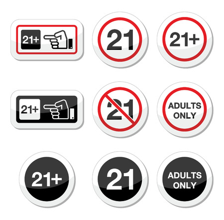 Under 21, adults only warning sign Vector