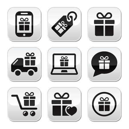 Present, shopping vector buttons set Vector