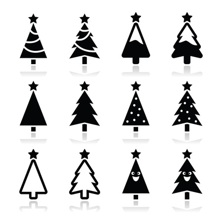 on the tree: Christmas tree vector icons set
