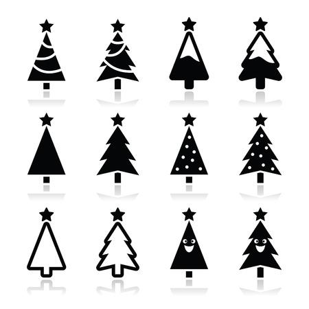 arbre: Noël icônes vectorielles arbres mis en