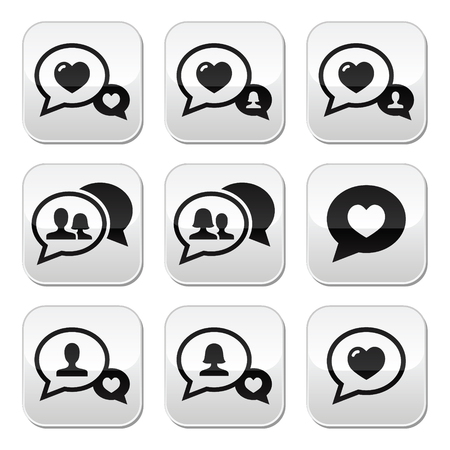 Love speech bubbles, couples vector buttons set Vector