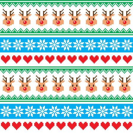 Christmas pattern with reindeer pattern - scandynavian sweater style Illustration