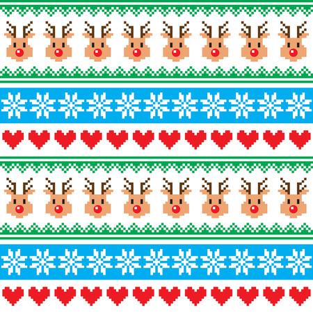 scandynavian: Christmas pattern with reindeer pattern - scandynavian sweater style Illustration