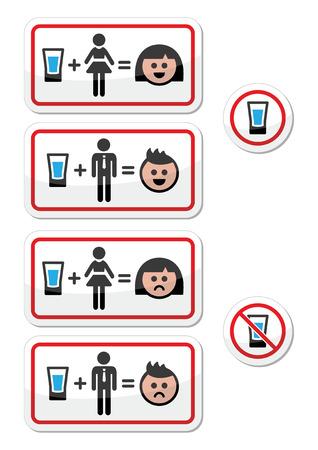 equals: Menschen trinken Alkohol - traurige und fr�hliche Gesicht Icons