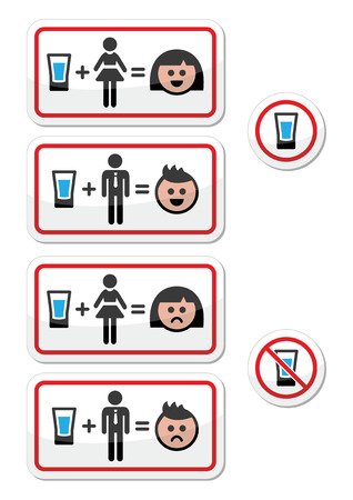 People drinking alcohol - sad and happy face icons set Vector
