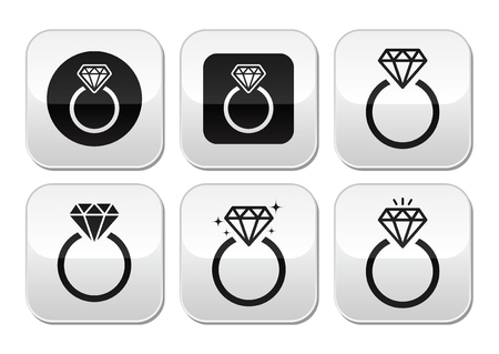 Diamond engagement ring vector buttons set Vector