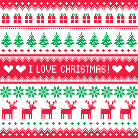 I love Christmas pattern - scandynavian sweater style Vector