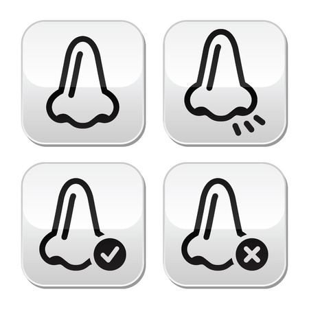 Nose smell vecotr buttons icons set  Vector