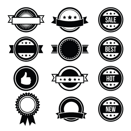 scrap trade: Distintivi rotondi Retr�, etichette vintage set - vettore