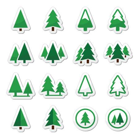 two stroke: Iconos del vector del �rbol de pino establecen