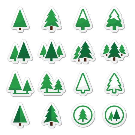 snow fall: Pine tree vector icons set  Illustration