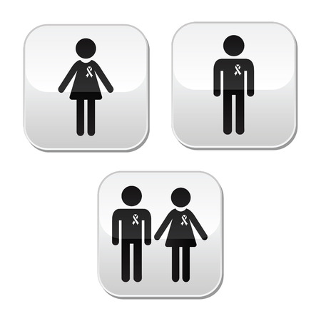 Man and woman with awareness ribbons buttons set Vector