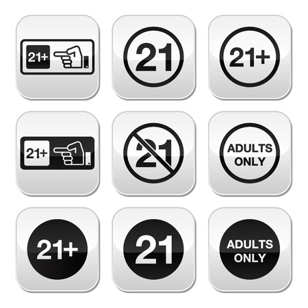 21: Under 21, adults only warning sign buttons
