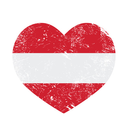 Austria heart retro flag Vector