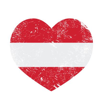 Austria heart retro flag