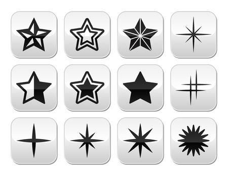 Stars christmas celebration vector buttons set Vector
