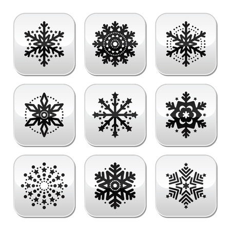 Christmas or winter Snowflakes vector buttons set Vector