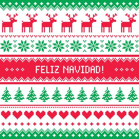 scandynavian: Feliz navidad card - scandynavian christmas pattern Illustration