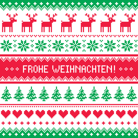 scandynavian: Frohe Weihnachten card - scandynavian christmas pattern