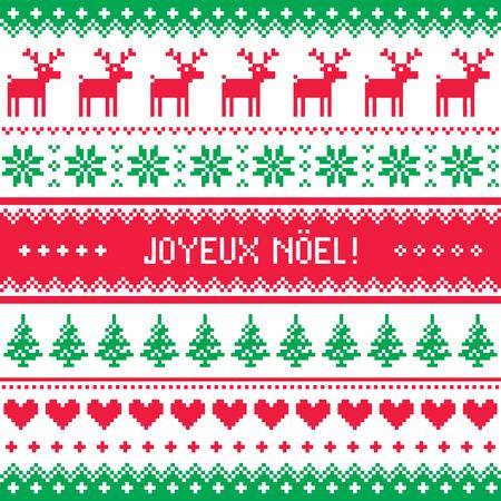 Joyeux noel card - scandynavian christmas pattern