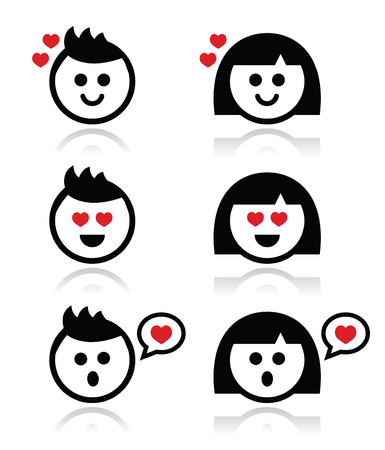 Man and woman in love icons set Vector