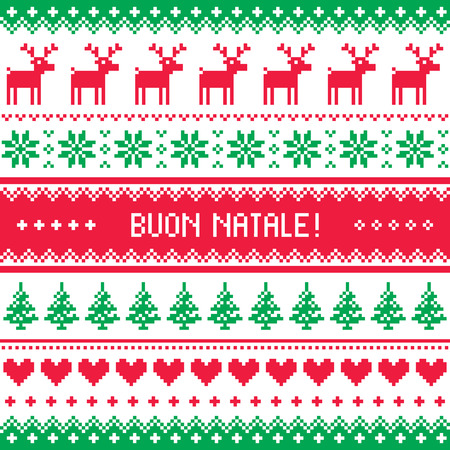Buon Natale card - scandynavian christmas pattern Stock Vector - 23650061