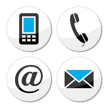 Contact web and internet vector icons set Illustration