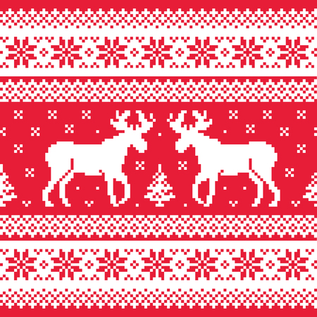 scandynavian: Christmas and Winter knitted pattern with reindeer