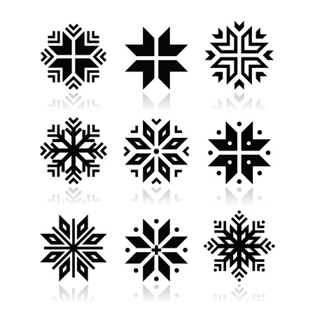 クリスマス、冬の雪ベクトル アイコンを設定