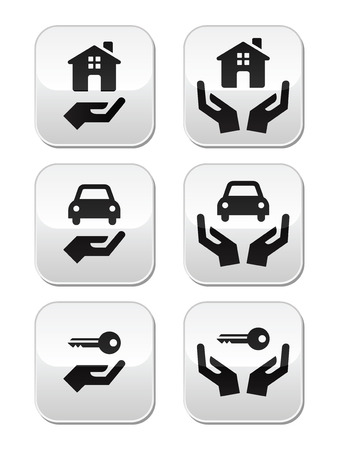 Home, car, keys with hands buttons set Vector