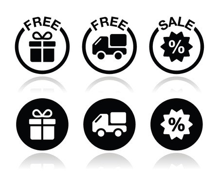 set free: Free gift, free delivery, sale icons set Illustration