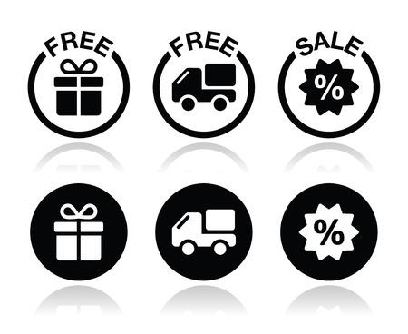 retail shop: Regalos gratis, la entrega gratuita, iconos de la venta fijados