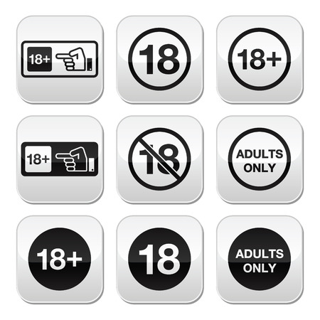 18: Under 18, adults only warning sign buttons Illustration
